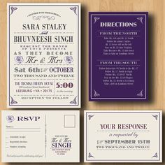 Purple Wedding Invitation Suite - This would be great in gray and pink with a logo or motif- love this!!!!