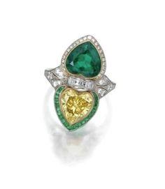 Emerald diamond heart ring