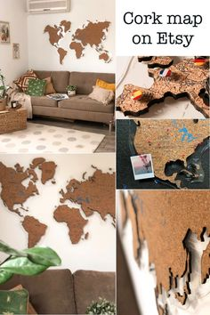 Cork World Map Push Pin by GaDenMap. Travel map for wall decor in office room, bedroom, living room, kid's room decorating. Cork map of the World wall art, Map cork board, Rustic home decor, World Map gifts, World Map cork #woodenmap #wallart #babyroomdecor