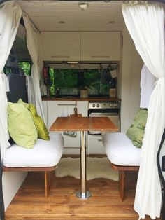 Dining room. Inside Nikki Loy's self build camper van. More info and details at nikkiloy.com