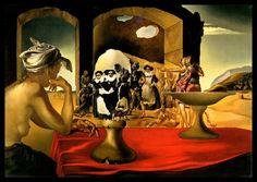 """Grabado de Salvador Dali, """"mercado con la aparición de esclavos"""""""