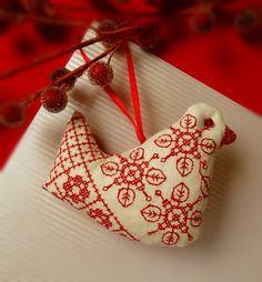 Folk Art Bird Linen Christmas Ornament. $12.00, via Etsy.