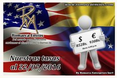 #TasaDeCambio 06:00 pm #RomarcaEnvios #EnvioDeDinero #VenezolanosEnElMundo #VenezolanosEnElExterior