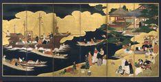Arrival of a Portuguese ship | Edo period (1615–1868) | Japanese screen.