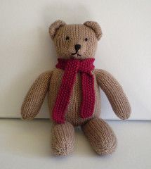 This pattern can be used to knit a plain teddy bear or one that's covered in stripes. When worked in DK weight yarn the bear is 30cm tall but the size could be altered by using thinner or thicker yarn. Tips are given on managing all those colours, including sewing the seams neatly.