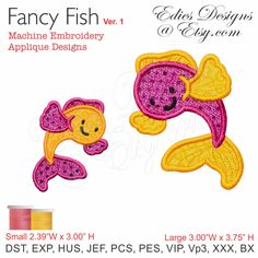 Fancy Fish Machine Embroidery Applique Designs Digital Download by EdiesDesigns on Etsy