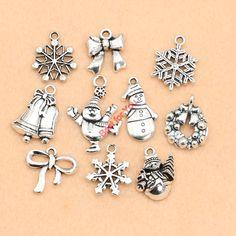 Christmas Charm Antique Silver Plated Zinc Alloy Snowflake Charms Pendants fit Bracelet Jewelry Making Accessories 10pcs