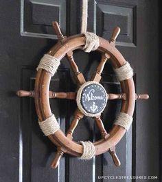 Upcycled Ship Helm Wreath