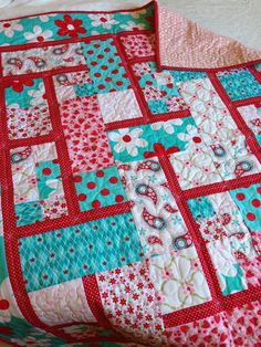 SALE 93.00  Aqua and Red  A-maze-ing Daisies was 124.00 on Etsy, $93.00