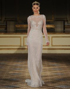Berta netting-covered wedding dress with lace and long sleeves from Fall 2016