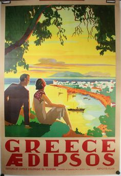 Vintage travel poster of Edipsos Greece, 1956 Old Posters, Retro Poster, Poster Ads, Vintage Travel Posters, Custom Posters, Vintage Ads, Artwork Prints, Poster Prints, Vitrine Design