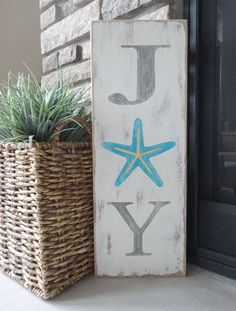 Items similar to JOY sign. Hand painted Christmas sign/ Coastal Christmas/ Beachy Christmas sign/ Starfish Christmas sign/ Tropical Christmas decor on Etsy Tropical Christmas Decorations, Coastal Christmas Decor, Nautical Christmas, Tropical Decor, Christmas Signs, Coastal Decor, White Christmas, Christmas Crafts, Holiday Decor