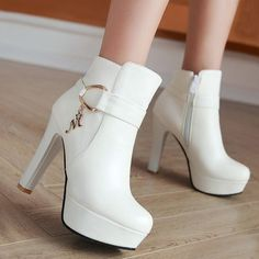 Available Sizes Shaft Height Heel Height Platform Height Heel Height :High Heel Type :Chunky Boot Shaft :Ankle Color :White Toe :Round Shoe Vamp :PU Leather Closure :Zipper Fancy Shoes, Pretty Shoes, Cute Shoes, Dr Shoes, Shoes Heels, Prom Heels, Sparkly Heels, Gold Heels, Wedding High Heels