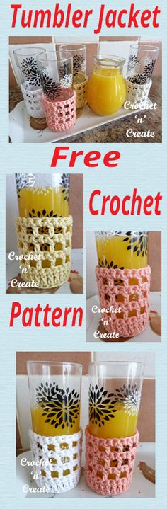 Free crochet pattern for tumbler jacket, protect your hands from cold drinks, make it personal with individual colors. #crochet