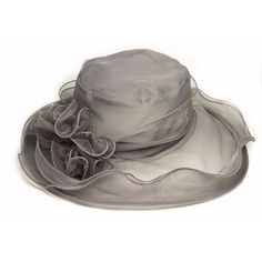 Ladies Church Net Flower Wide Brim Beach Hat Elegant Wedding Derby Cap ($7.92) ❤ liked on Polyvore featuring accessories, hats, grey, cap hats, church derby hats, grey hat, beach hat and leopard hats