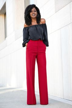 Off Shoulder Blouse x Wide Leg Trousers.