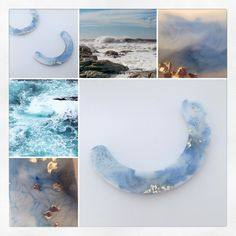 Making Handcrafted eco-resin arc necklaces for a new seascape collection. Capturing those crashing waves and rock pools in wearable art jewellery Resin Jewellery, Jewelry Art, Contemporary Jewellery, Contemporary Style, Eco Resin, Irish Jewelry, Crashing Waves, Rock Pools, Handmade Sterling Silver
