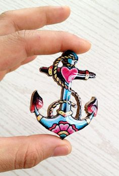 Sailor Anchor Nautical Tattoo Brooch by pier7craft on Etsy, $8.50