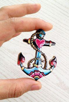 Sailor Anchor Nautical Tattoo Brooch. $8.50, via Etsy.