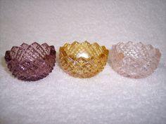 THREE GLASS DIAMOND POINT OPEN CELLAR SALT DIP