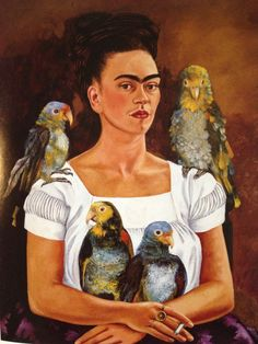 Frieda Kahlo. Me and my Parrots. c. 1941. Oil on Canvas. Collection of Mr. & Mrs. Harold H. Stream New Orleans, Louisiana.