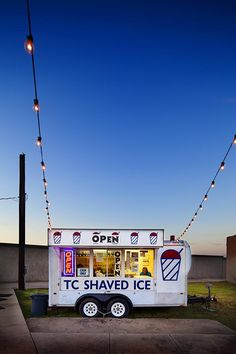 Snow Cone Stand at Dusk  Photo by Kelly Berry (Murphy, Texas). Photographed in McKinney, Texas, May 2012.