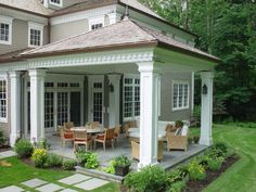 Traditional Porch with Covered patio, Wrap around porch, Lloyd Flanders Hamptons All-Weather Wicker Sofa, Exterior paint House Design, Patio Room, House Design Photos, House Exterior, Patio Design, Cool House Designs, Wrap Around Porch, Luxury House Designs, Traditional Porch