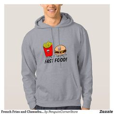 French Fries and Cheeseburger: Fast Food! Hoodie Irony Humor, Stationery Paper, Christmas Photo Cards, French Fries, Craft Party, Funny Gifts, Laptop Sleeves, Long Sleeve Shirts, Photo Gifts