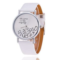 Who cares I'am late anyway Watch Leather Strap Women Watch Quartz Watch