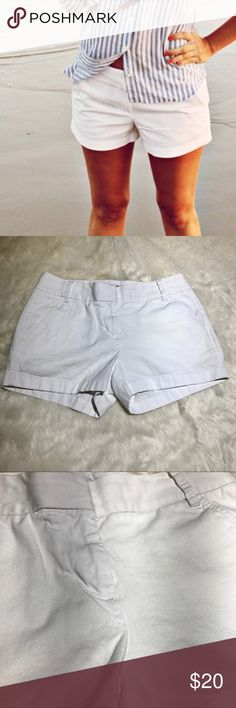 """J. Crew Factory White Chino Shorts Cute & comfy J. Crew Factory white chino shorts. Slight pilling on front and back (please see photos).   100% Cotton  Measurements are taken laying flat and are approximate -  Waist: 15"""" Rise: 8.5"""" Inseam: 3""""  E07 J. Crew Factory Shorts"""