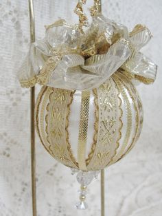 Handmade Christmas Tree Ornament White Satin by BobbyesHobbies