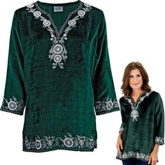 A gentle frosting of white floral embroidery acts as a vibrant accent on our pine green velvet top. Grandeur made manifest.