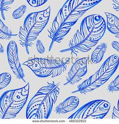 vector seamless pattern in boho style. watercolor feathers on a light background