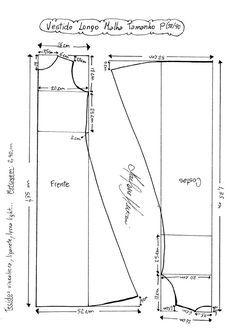 Esquema de Molde de Vestido de Malha Longo tamanho P (38/40).