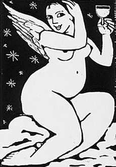 Artist: Anita Klein  Title: Angel Celebrating  Medium: Woodcut  One of my all time favorite print makers! Playfully erotic. One of the few artists who can portray the act of sex in a loving non pornographic but utterly sensual way.