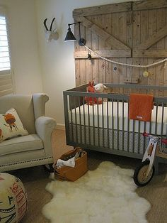 Orange and Grey, I know it's a nursery but good design ideas for modern country