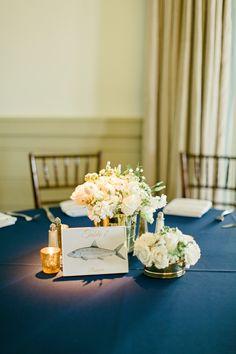 Navy and white centerpiece | A Romantic Nautical Wedding