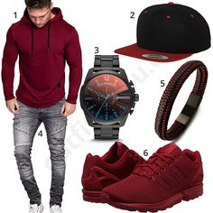 Cool men's outfit with wine red Amaci & Sons hoodie, Adidas ZX Flux shoes, black and red halukakah strap, Flexfit snapback cap, large Diesel men's wristwatch and gray Golden Brands jeans.  1. Hoodie► amzn.to/2pVlhxS 2. Cap► amzn.to/2H6hmqg 3. Uhr► amzn.to/2pYbYx3 4. Trousers► amzn.to/2H1Andp (-40%)  5. Armband► amzn.to/2GpfCqL 6. shoes► amzn.to/2pVqvK7