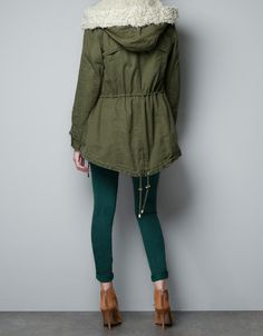 SHORT PARKA WITH ZIP AND FUR - Coats - Woman - ZARA United States