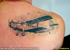 Antonov AN-2 Colt Russian / USSR Biplane Transport Aircraft from Aeroflot – Shoulder Tattoo – Denis Sivak – Odessa, Ukraine – Tattoos In Flight Aviation, Airplane and Flying Tattoos