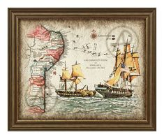Old Map Brazil 1812 and Ship Battle Art Decor,Ship Art Decor Map,Old Map Brazil,Antique Map Brazil,Gift,Wall Art,Decor,Instant Download