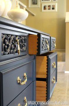 Vintage Navy Blue Dresser! Olympic Cavalry (navy) color matched to valspar.