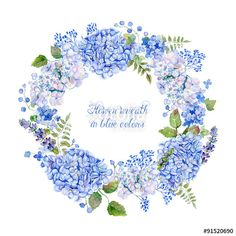 "Baixe a foto royalty free ""Round frame of blue hydrangea and other flowers. Watercolor wreath. Can be used as a greeting card for background of Valentine's day, birthday, mother's day or any other design"" criada por inna72 com o menor preço no Fotolia.com. Navegue no nosso banco de imagens online barato e encontre fotos stock perfeitas para seus projetos de marketing!"