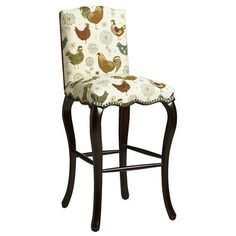 Claudine Barstool - Rooster - Could be really nice with a different fabric on them. Would add some color. Decor, Stool, Furniture Inspiration, Upholstery, House Interior, Bookshelves In Living Room, Farmhouse Fabric, Bar Stools, Furniture