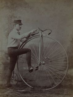 Antique-Cabinet-Card-Photo-Man-with-Penny-Farthing-Bicycle-New-Hampshire