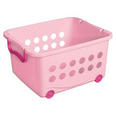 Circo™ Wheeled Stacking Bin - Set of 6 - Pink