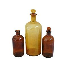 Antique French Apothecary Bottles - Set of 3 ($149) ❤ liked on Polyvore featuring home, kitchen & dining, serveware, apothecary and decorative objects