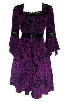 Dare to Wear Gothic and Victorian plus size Renaissance corset dress in Blackberry Brocade with black lace  darefashionusa.com  $82.99
