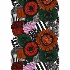 Marimekko Siirtolapuutarha White / Orange / Green Cotton Fabric Repeat