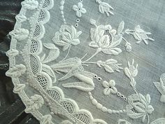 "Antique Swiss embroidered wedding handkerchief -- perfect, ""Rosebuds"" c.1860 - 1890   $275.00"